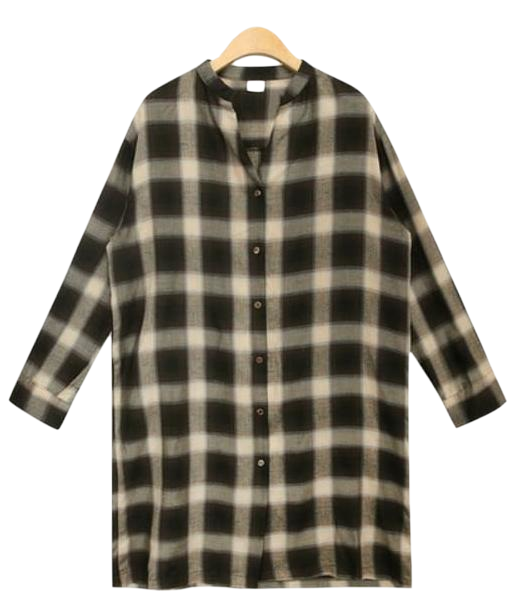 soft v-neck check shirts ops