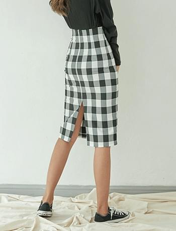 back slit check midi skirt