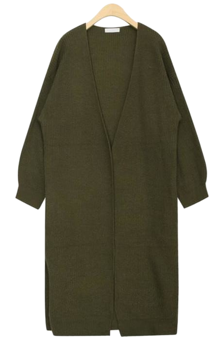 moca side slit long cardigan