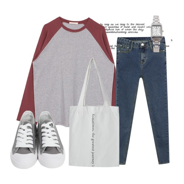 Untitled,From Beginning Purcell cotton sneakers_M (size : 230,235,240,245,250),biznshoe Boxy raglan tee (3color)등을 매치한 코디