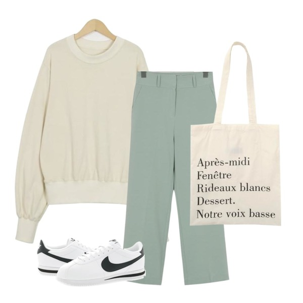 From Beginning Made_acc-009_french cotton bag (size : one),From Beginning Balloon sleeve half-neck mtm_M (size : free),From Beginning Made_bottom-124_Wearable slacks (size : S,M,L)등을 매치한 코디