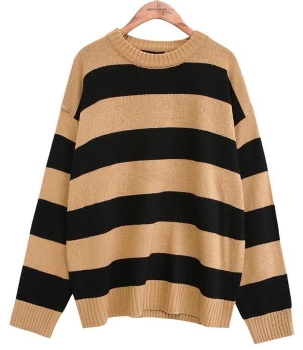 BOLD STRIPE ROUND NECK KNIT