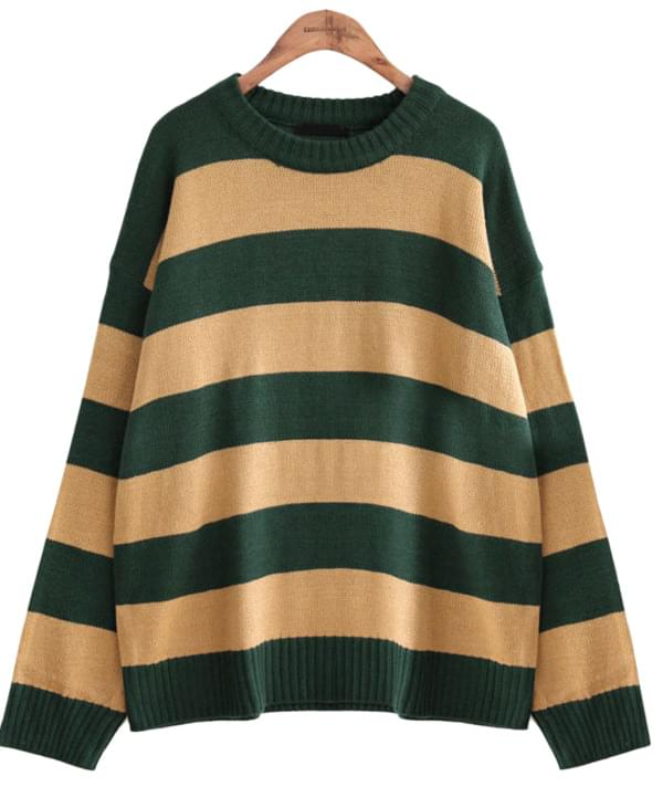 [TOP] BOLD STRIPE ROUND NECK KNIT