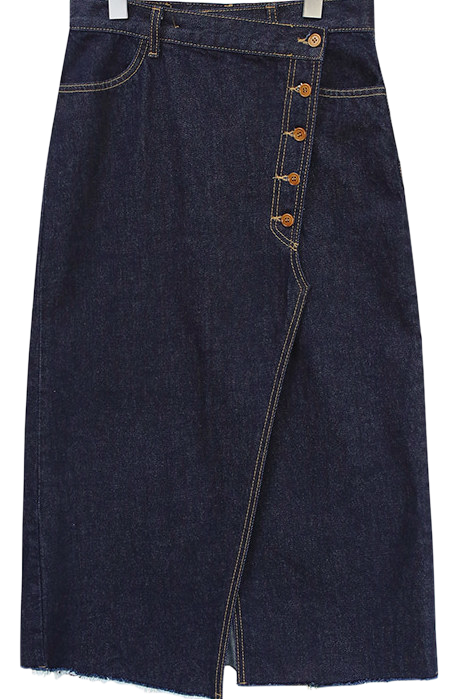 BUTTON DENIM LONG SKIRT