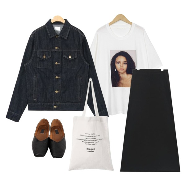 From Beginning Janet picture T_S (size : free),AIN moody long flare skirt (s, m),AIN most standard denim jacket등을 매치한 코디