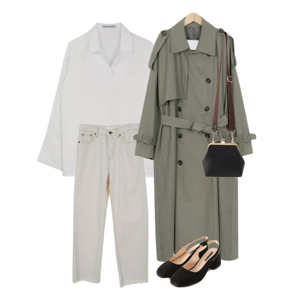 From Beginning Benefit over trench coat_M (size : free),Zemma World Criminal-맥시팬츠[size:S,M / 1color],MIXXMIX 세레나 슬릿 블라우스등을 매치한 코디