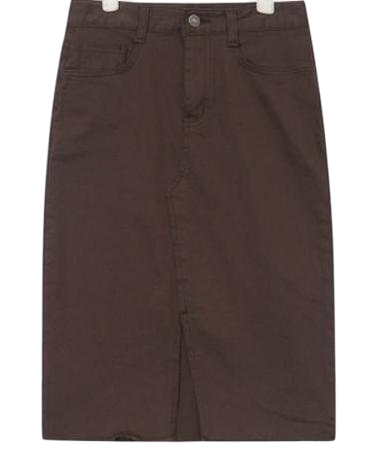 core front slit cotton midi skirt (s, m)