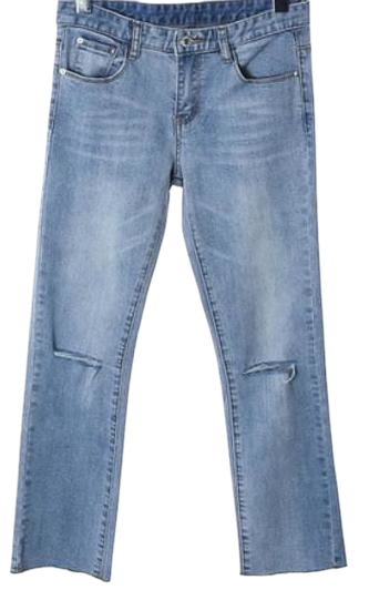 knee cutting crop denim pants (일시품절)