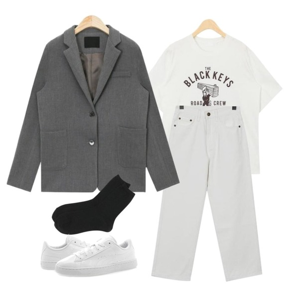 From Beginning Grab stitch cotton pants_K (size : S,M),AIN kidding daily printing T,AIN fabulous margaret simple jacket등을 매치한 코디