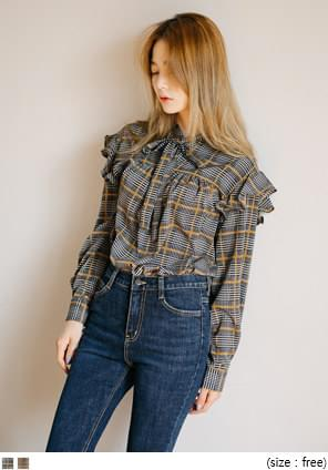 CARROT CHECK RUFFLE TIE BLOUSE