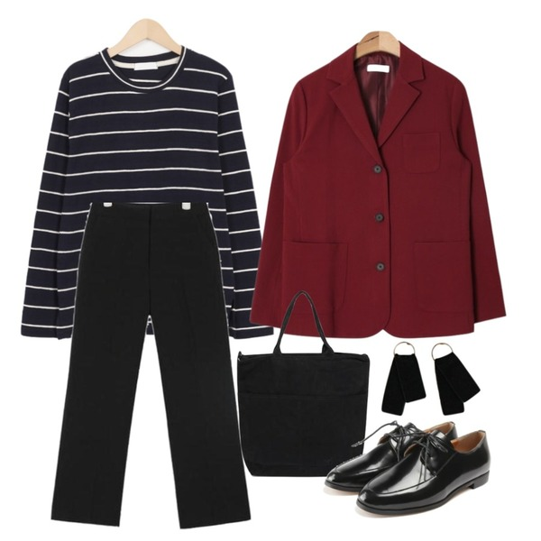 AIN 3-button poket jacket (3 colors),AIN coco soft elastic wide slacks (s, m),From Beginning Texture stripe T_H (size : free)등을 매치한 코디