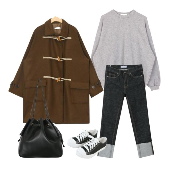 From Beginning Comment lucky bag_M (size : one),AIN universe daily point duffle coat,biznshoe Basic mtm (3color)등을 매치한 코디