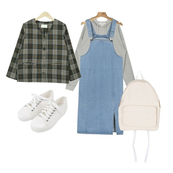 daily monday Long suspender slit one-piece,myblin V넥 체크 미니 자켓 (3color),AIN FRESH MORE hessed hoodie등을 매치한 코디