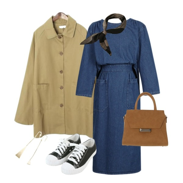MINIBBONG 에코 베이직스니커즈,ROCOSIX basic single button trench coat,From Beginning Back open denim ops_S (size : free)등을 매치한 코디