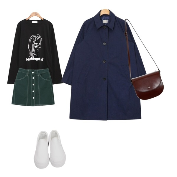 AIN simple single trench coat (2 colors),myblin 스티치 버튼 미니 스커트 (3color),common unique [TOP] NOTHING PRINTING T등을 매치한 코디