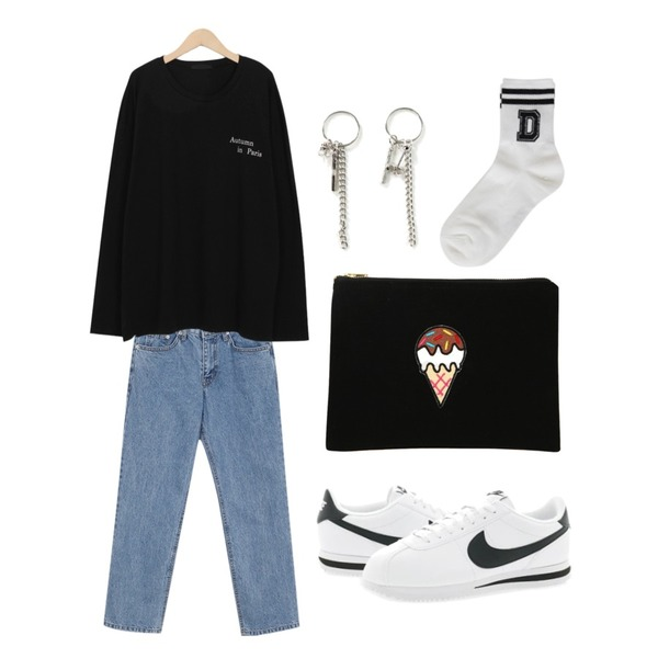 Player 나이키 코르테즈 베이직 레더 화이트 블랙 (NIKE CORTEZ BASIC LEATHER),From Beginning Come over boy denim_K (size : S,M),From Beginning Autumn lettering sleeve T_H (size : free)등을 매치한 코디