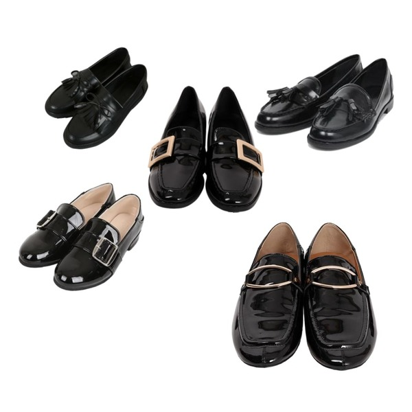 From Beginning Rich gold buckle loafer_K (size : 230,235,240,245,250),From Beginning Square belt black loafer_K (size : 225,230,235,240,245,250),AIN sarah classic tassel loafer (230-250)등을 매치한 코디