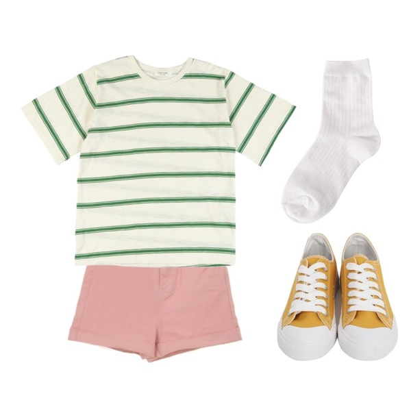 Zemma World (ZEM.made) Cheese shorts (ver.롤업반A)[size:S,M,L,XL / 2color],biznshoe Basic color socks (7color),IHRER SHAPE Stripe T-shirt GREEN등을 매치한 코디