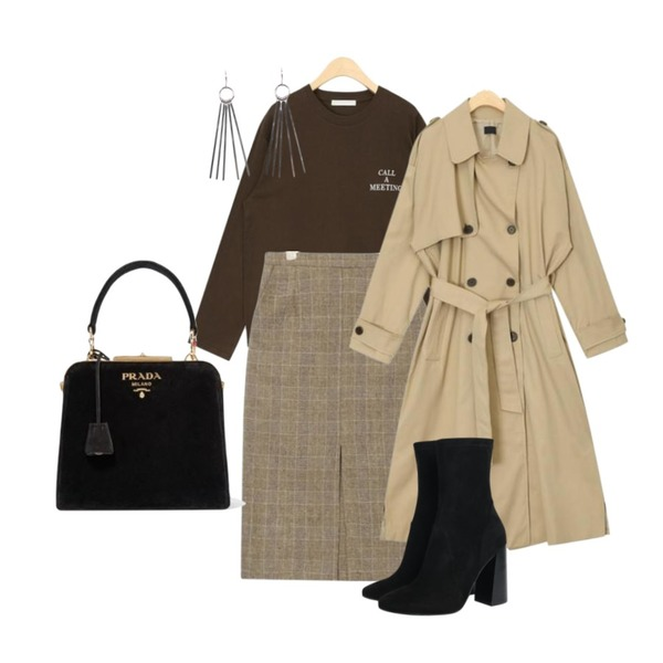 AIN grow up daily trench coat,AIN daily calling lettering T,AIN classic mood midi slit skirt등을 매치한 코디