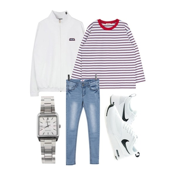 BULLANG GIRL 웨이트라잇P,MIXXMIX ONLY MIX Color stripe T-shirt,MIXXMIX HIDE Jersey Piping Zipup Top등을 매치한 코디