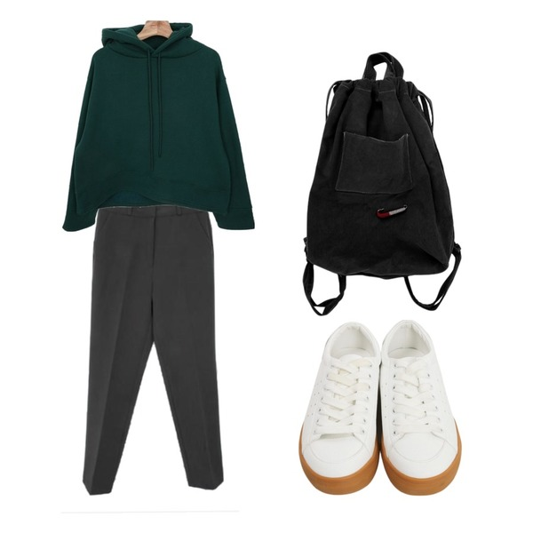Zemma World Forest-기모후드,Zemma World 젠틀-슬렉스 (ver.F/W어반슬림핏)[size:S,M,L,XL / 4color],From Beginning Excel rubber sneakers_M (size : 225,230,235,240,245,250)등을 매치한 코디