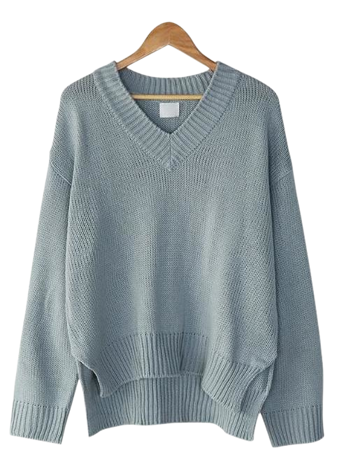 v-neck unbalance knit