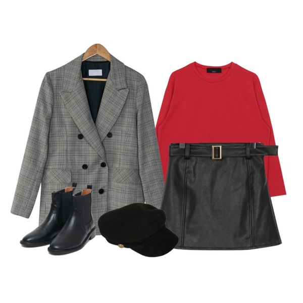 BANHARU glen check double jacket,biznshoe Cotton color tee (5color),From Beginning Belt leather mini skirt_M (size : S,M)등을 매치한 코디