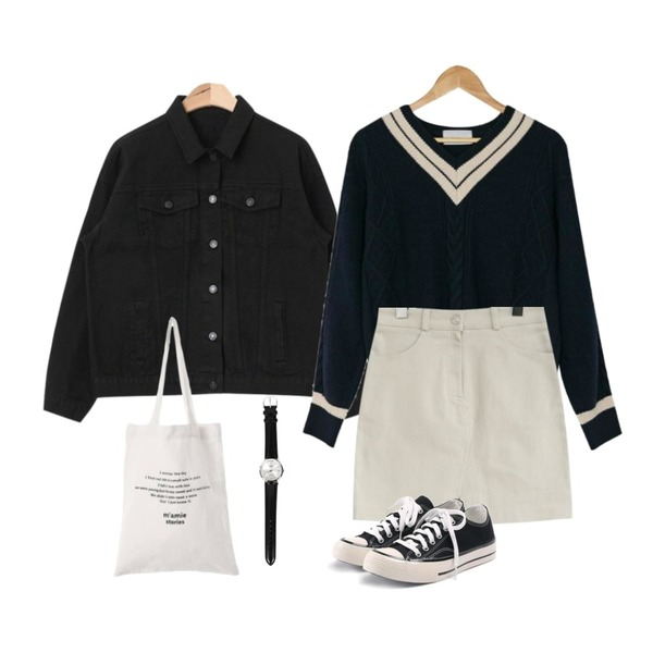 AIN basic fit cotton jacket (3 colors),common unique [SKIRT] EDEN H LINE SPAN SKIRT,BANHARU preppy twist knit등을 매치한 코디