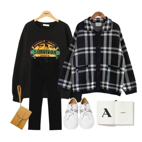 From Beginning Pick cotton semi skinny_B (size : S,M,L),Reine 지라프 서바이벌 맨투맨,common unique [OUTER] WOOL CHECK KNIT JAKET등을 매치한 코디