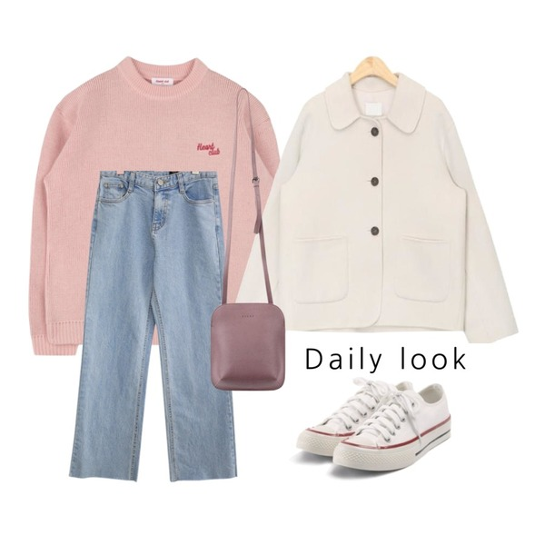 MIXXMIX Heart Sleeve Knit (Baby pink),common unique [BOTTOM] ERIS STRAIGHT DENIM PANTS,AIN cutey snow handmade coat등을 매치한 코디