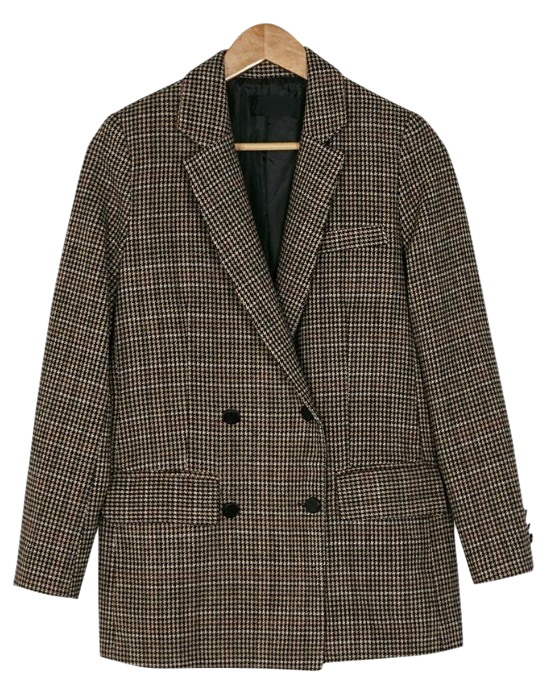 double button check jacket