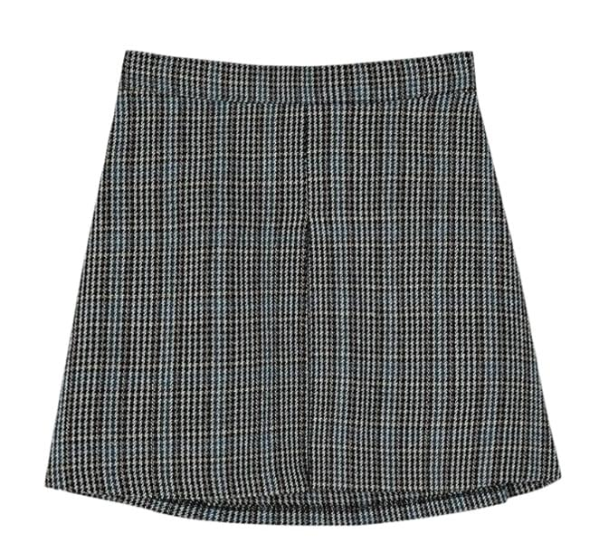 wool check banding skirt