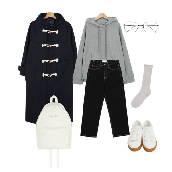 daily monday Long duffle wool coat,From Beginning Made_top-193_napping photo hood (size : free)[11월 2일 입고 후 순차적배송],From Beginning Cream stitch cotton pants_S (size : S,M)등을 매치한 코디
