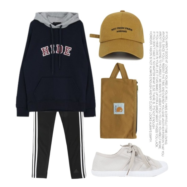 AIN walking daily sneakers (3 colors),Player 아디다스 우먼스 D2M 3S 롱 레깅스 블랙(ADIDAS WOMENS D2M 3S LONG LEGGINGS BLACK),MIXXMIX Logo Two Color Hoodie등을 매치한 코디