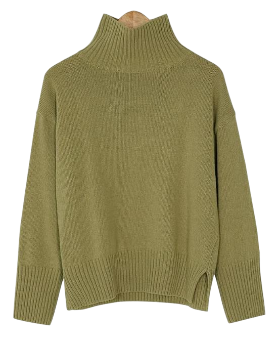 wool boxy fit turtleneck knit