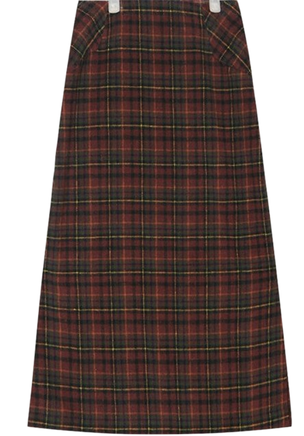 carol check long skirt