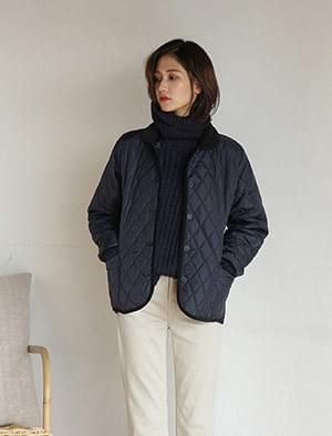 round collar quilting jacket
