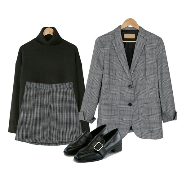 BANHARU bono check pattern jacket,BANHARU long sleeveless turtleneck knit,BANHARU wool check banding skirt등을 매치한 코디