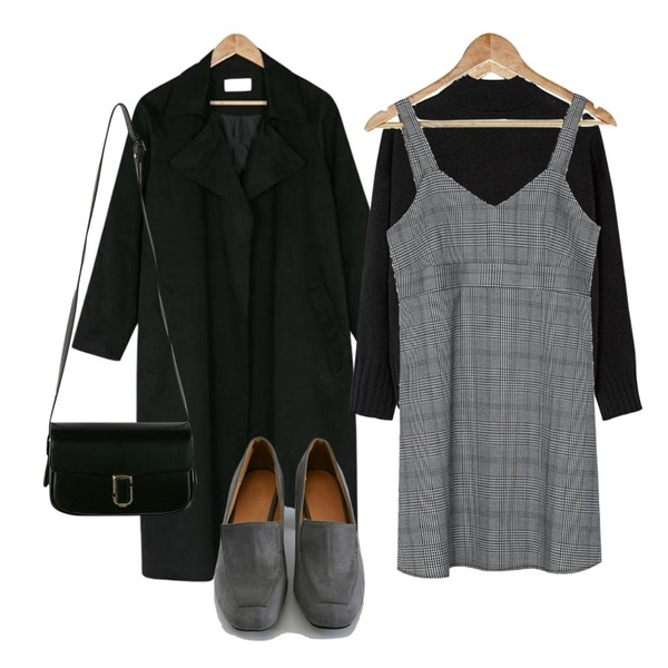 BANHARU check sleeveless mini ops,BANHARU big collar robe trench coat,BANHARU half-neck basic knit등을 매치한 코디