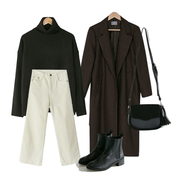 BANHARU natural wool long coat,BANHARU long sleeveless turtleneck knit,BANHARU essential cotton wide pants등을 매치한 코디