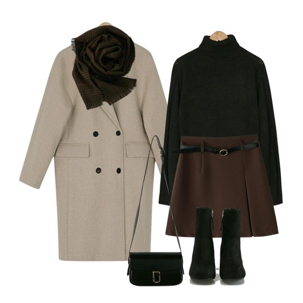 BANHARU unbalance slit belt skirt,BANHARU double button wool coat,BANHARU 7colors turtleneck knit등을 매치한 코디