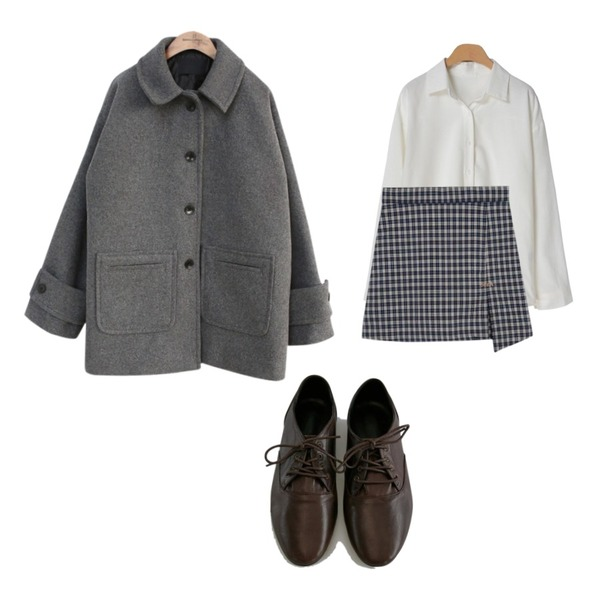 common unique [OUTER] BIG POCKET WOOL COAT,MIXXMIX Check Slit Skirt Pants,OBBANG STYLE 봉골레셔츠등을 매치한 코디
