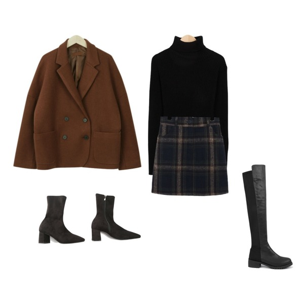 From Beginning Warm golgi turtle neck knit_K (size : free),myblin 더블버튼 숏 코트 (3color),common unique [SKIRT] WARM CHECK SKIRT - 2 TYPE등을 매치한 코디