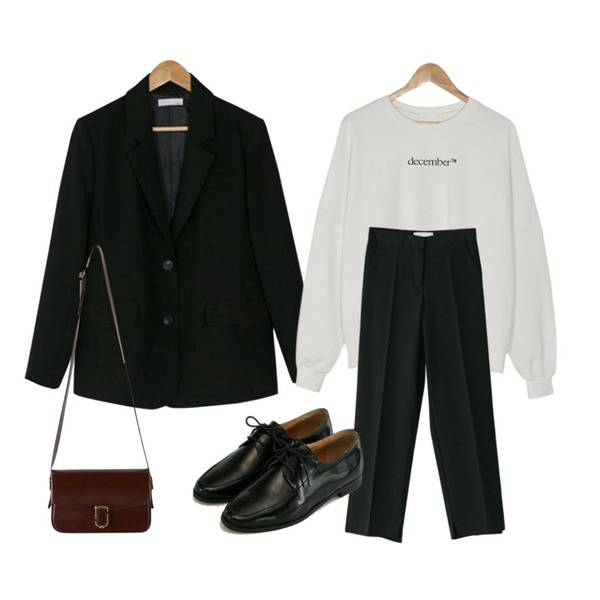 BANHARU sleeve button classic jacket,BANHARU boxy fit december mtm,BANHARU slit hem maxi slacks등을 매치한 코디