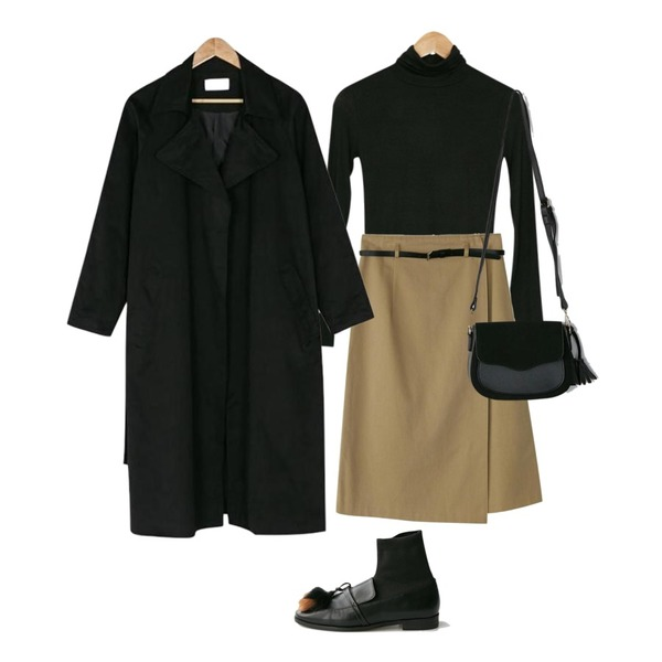 BANHARU rozy belt wrap skirt,BANHARU big collar robe trench coat,BANHARU tight fit turtle tee등을 매치한 코디