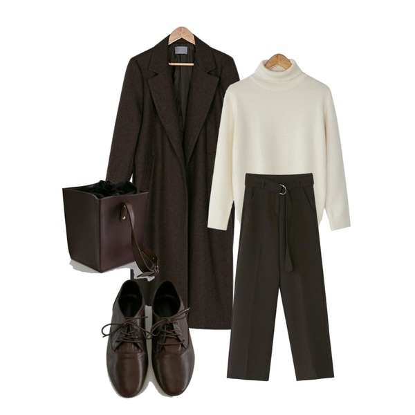 BANHARU natural wool long coat,BANHARU wool turtleneck knit tee,BANHARU belt set boots-cut slacks등을 매치한 코디