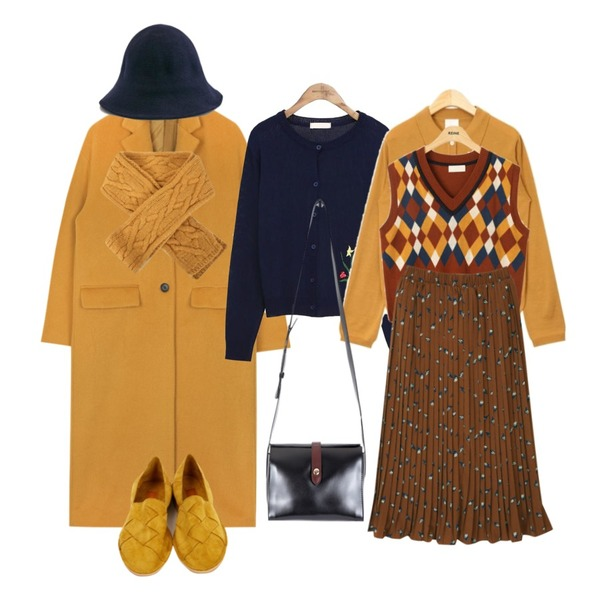 AIN long over silhouette coat (2 colors),common unique [OUTER] FLOWER POINT CARDIGAN,AIN coco collar wool knit등을 매치한 코디