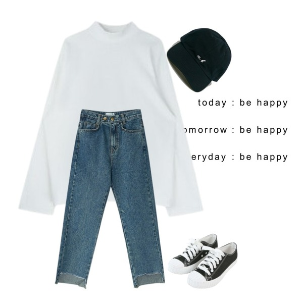 be happy,MIXXMIX 서울 와이드 하이넥,BANHARU cutting point denim pants등을 매치한 코디