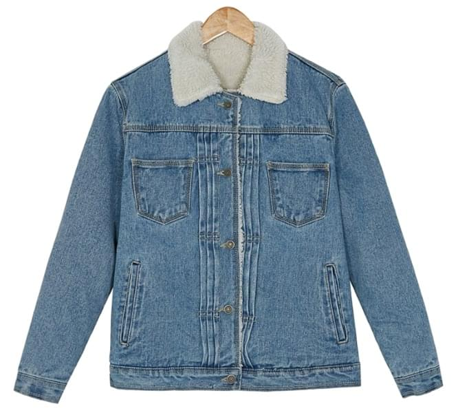 boucle washing denim jacket