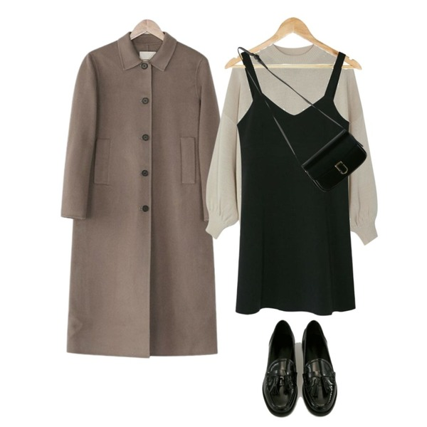 BANHARU formal sleeveless mini ops,BANHARU puff shirring sleeve knit,BANHARU [hand made] feminine a-line coat등을 매치한 코디